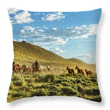 Horses And More Horses Throw Pillow