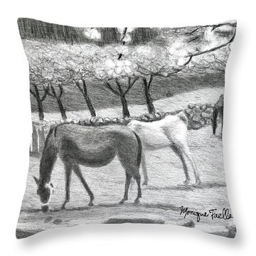 Horses And Trees In Bloom Throw Pillow
