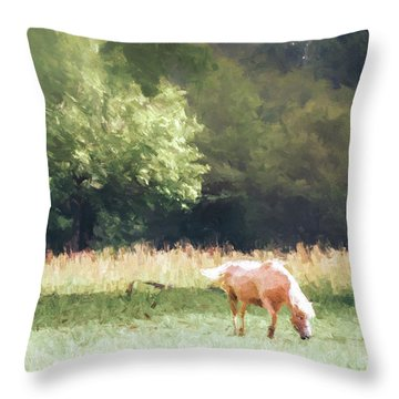 Throw Pillow featuring the photograph Horses by Andrea Anderegg