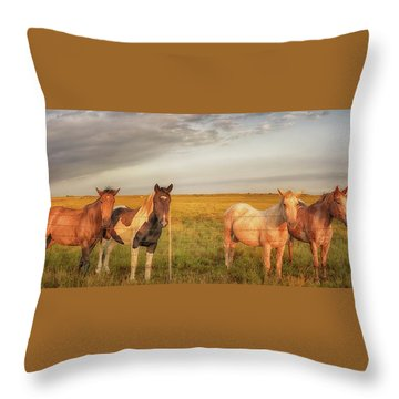 Horses At Kalae Throw Pillow