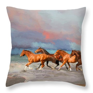 Horses At The Beach Throw Pillow