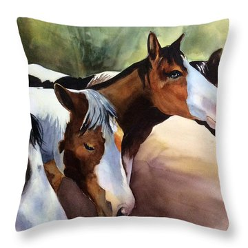 Horses At The Ranch Throw Pillow