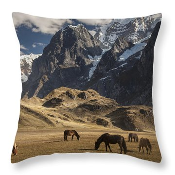 Horses Grazing Under Siula Grande Throw Pillow