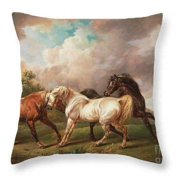 Horses In A Stormy Landscape Throw Pillow