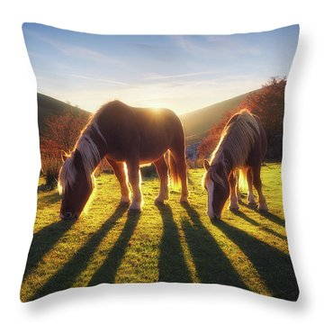Horses In Austigarmin Throw Pillow