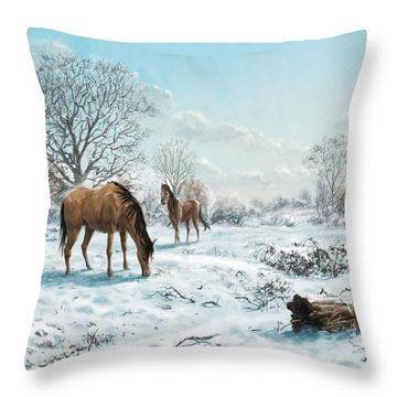 Horses In Countryside Snow Throw Pillow