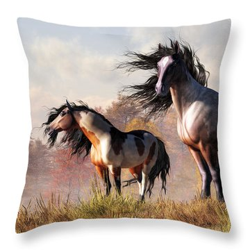 Throw Pillow featuring the digital art Horses In Fall by Daniel Eskridge