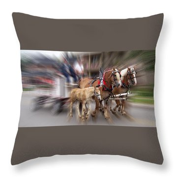 Horses In Motion Throw Pillow by David and Lynn Keller
