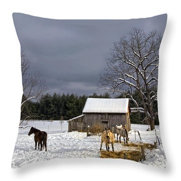 Horses In Snow Throw Pillow