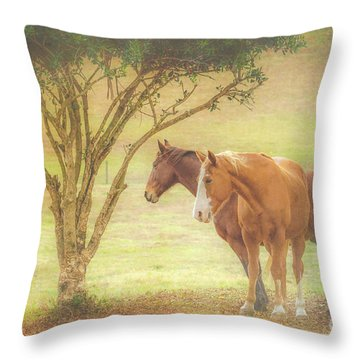 Horses In The Meadow Throw Pillow