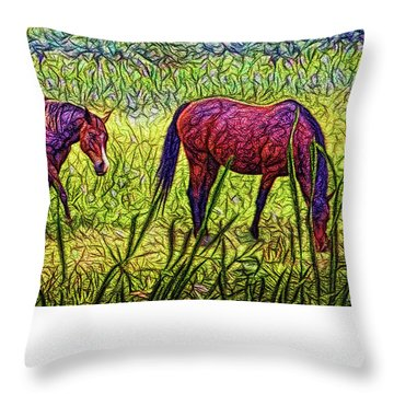 Horses In Tranquil Field Throw Pillow by Joel Bruce Wallach