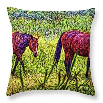 Horses In Tranquil Field Throw Pillow