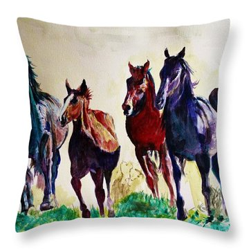 Horses In Wild Throw Pillow