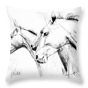 Horses - Ink Drawing Throw Pillow