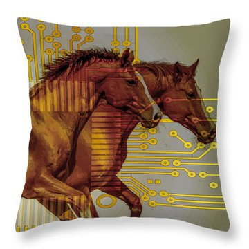 The Sound Of The Horses. Throw Pillow