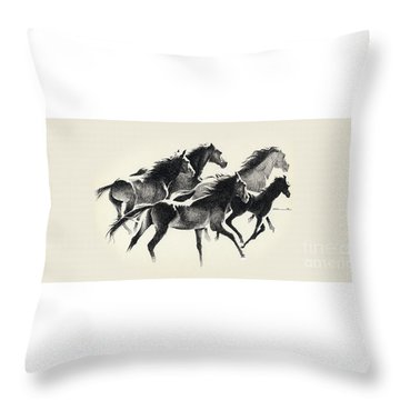 Horses Mug Throw Pillow