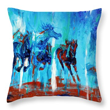 Horses Of Jeremaih Throw Pillow by Lidija Ivanek - SiLa