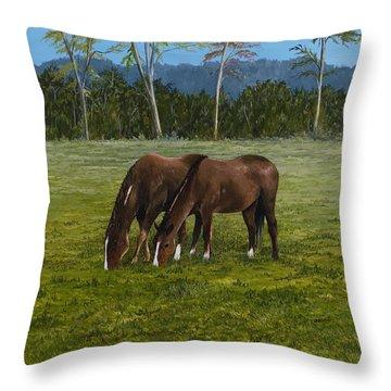 Horses Of Romance Throw Pillow