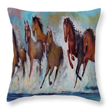 Horses Of Success Throw Pillow