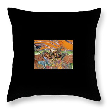 Throw Pillow featuring the painting Horses Of The Ardeche Valley France by Bob Coonts