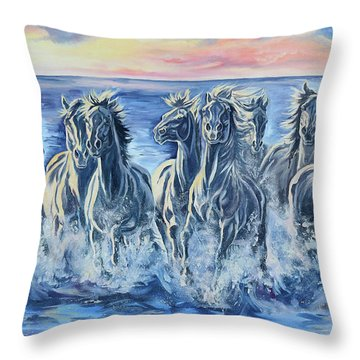 Horses Of The Sea Throw Pillow by Jana Goode