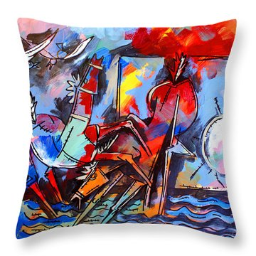 Horses On Beach Throw Pillow