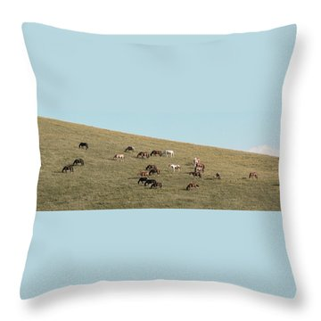 Horses On The Hill Throw Pillow