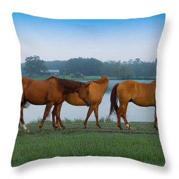 Horses On The Walk Throw Pillow