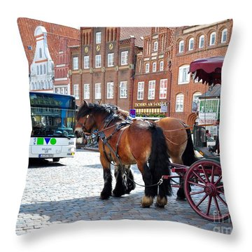Horses On Tour Throw Pillow