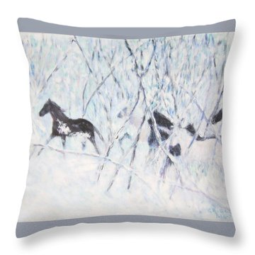 Horses Running In Ice And Snow Throw Pillow