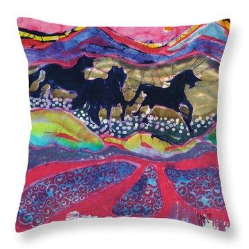 Horses Running Thru A Stream Throw Pillow