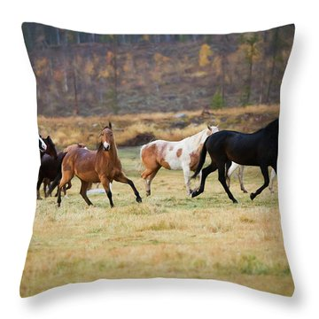 Throw Pillow featuring the photograph Horses by Sharon Jones