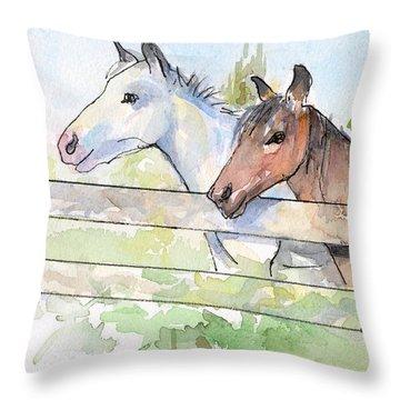 Horses Watercolor Sketch Throw Pillow