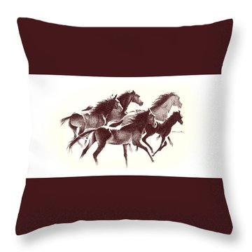 Horses2 Mug Throw Pillow