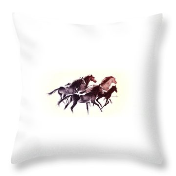 Horses5 Mug Throw Pillow