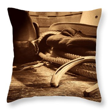 Horseshoe And Cowboy Gear Throw Pillow