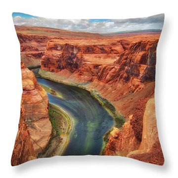 Throw Pillow featuring the photograph Horseshoe Bend Arizona - Colorado River #2 by Jennifer Rondinelli Reilly - Fine Art Photography