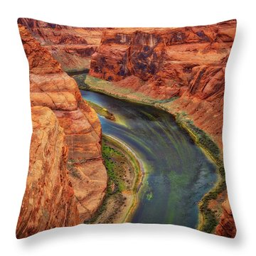 Throw Pillow featuring the photograph Horseshoe Bend Arizona - Colorado River #3 by Jennifer Rondinelli Reilly - Fine Art Photography