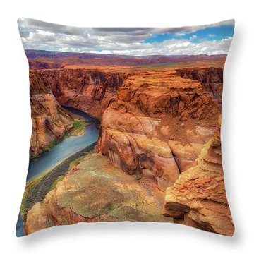 Throw Pillow featuring the photograph Horseshoe Bend Arizona - Colorado River $4 by Jennifer Rondinelli Reilly - Fine Art Photography