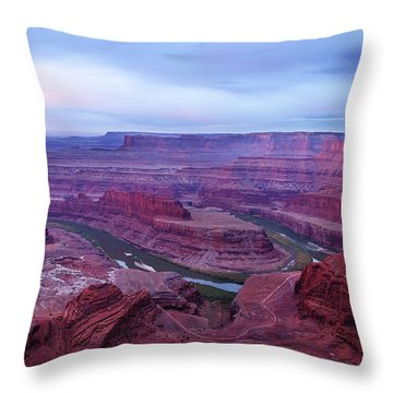 Throw Pillow featuring the photograph Horseshoe Bend At Dawn by Marie Leslie
