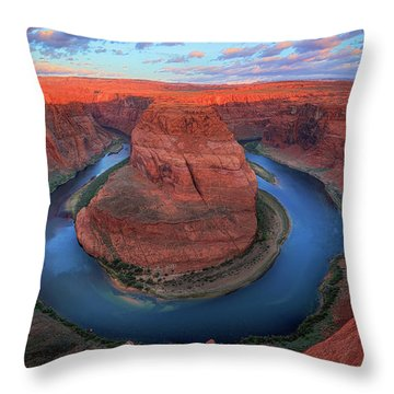 Horseshoe Bend Sunrise Throw Pillow