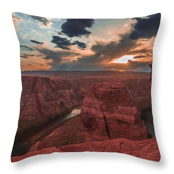 Horseshoe Bend Sunset Throw Pillow