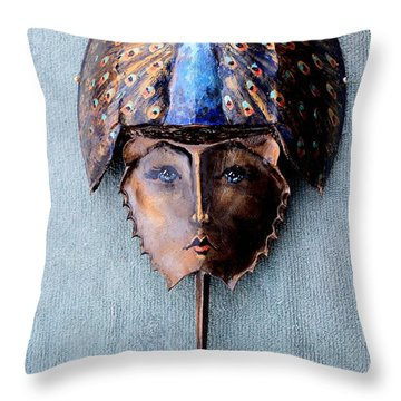 Horseshoe Crab Mask Peacock Helmet Throw Pillow