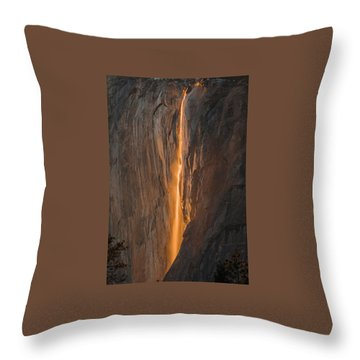 Horsetail Fall 1 Yosemite Throw Pillow