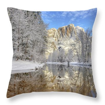 Horsetail Fall Reflections Winter Yosemite National Park Throw Pillow