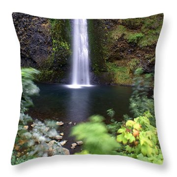 Horsetail Falls Basin Throw Pillow by Marty Koch