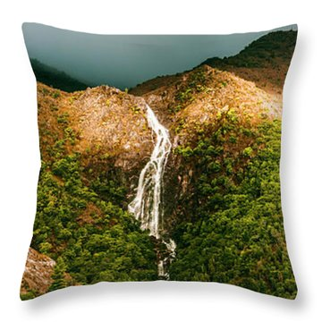 Horsetail Falls In Queenstown Tasmania Throw Pillow