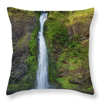 Horsetail Falls In Spring Throw Pillow by Greg Nyquist