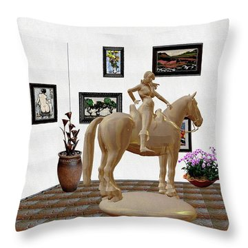 Virtual Exhibition -statue Of Horsewoman 12 Throw Pillow by Pemaro