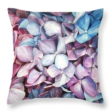 Hortensias Throw Pillow